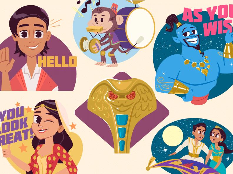 Aladdin iOS Digital Stickers by Dennis Salvatier